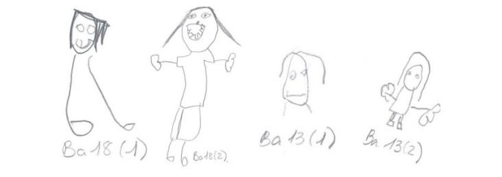 Dibujos extraídos del estudio Amaraberri antes y después de la aplicación del programa.