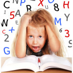 schoolgirl pulling blonde hair in stress with numbers and letters