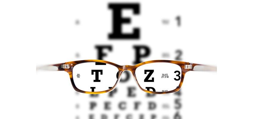 Eyeglasses against eye chart